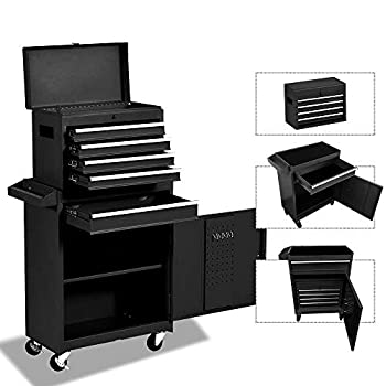 Tool Storage Cabinet&Tool Chest,Tool Cabinet with 4 Wheels,Tool Chest with 5 Drawers,Large Capacity Removable Toolbox with Lock for Garage and Warehouse-Black