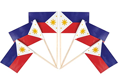 QQSD 100 Pcs Philippines Flag Toothpicks Filipino Flags Cupcake Toppers Philippine Decorations, Mini Small Flag Cupcake Pick Sticks Cocktail Toothpick Flag Cake Topper Picks