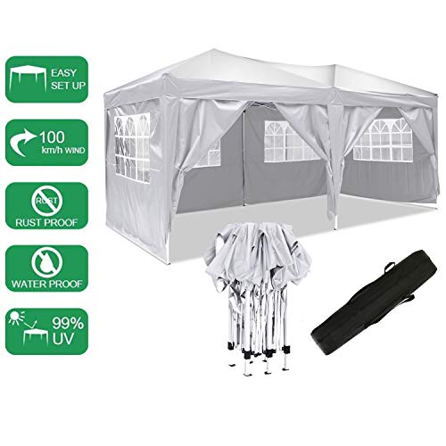 Laiozyen 3 x 6 m Waterproof Pop Up Gazebo Marquee Water Resistant Tent with Side Panels & Storage Bag for Outdoor Wedding Garden Party (3 x 6 m, White)