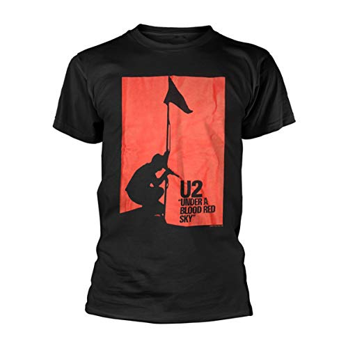 U2 Under A Blood Red Sky Bono The Edge Live Oficial Camiseta para Hombre (X-Large)