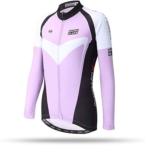 Cycling Jersey Ms Pink Long Sleeve Tops Full Zip Wicking Bike Biking Shirt Suitable for Run Motion Bicycle Clothing (Size : XX-Large)