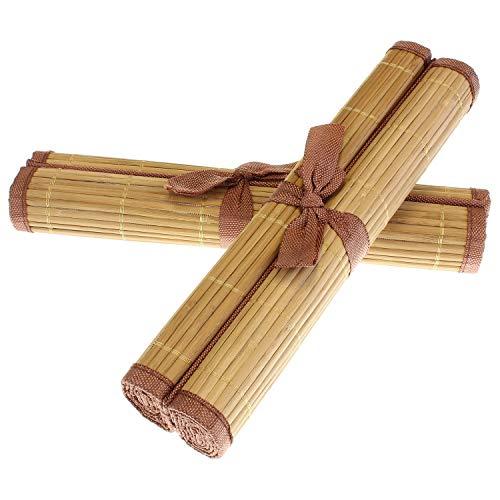 MACOSA HOME Platz-Set Bambus 4er Set abwaschbar Tischmatte Tisch-Set Platzdeckchen braun oder beige für Garten Terrasse oder Haus 45x30 cm recht-eckig (Beige)