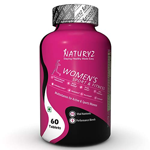Naturyz, Women's Sport Daily Multivitamin tablets for Women with 55 Vital Nutrients 12 Performance Blends consisting Vitamins Minerals Aminos Antioxidants Herbal extracts Tablets, 60 count