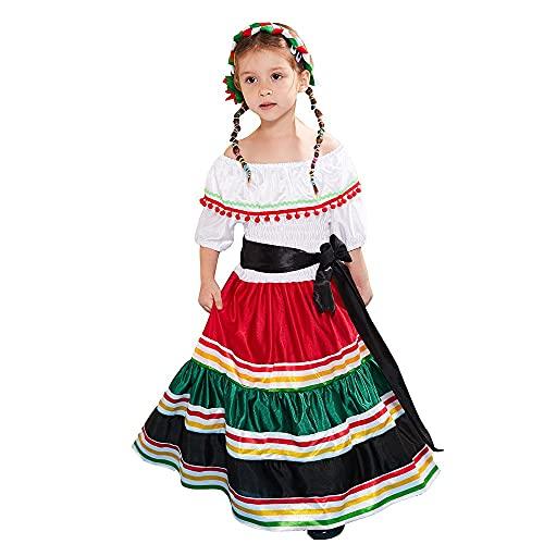 GSJCY Vestido Largo Nacional Mexicano para Nia Nios Nia Disfraz De Cosplay Fiesta Estilo De Estrella Fiesta De Cumpleaos De Halloween Juguete Kit para Nios Halloween Fiesta Carnaval (Size : M)