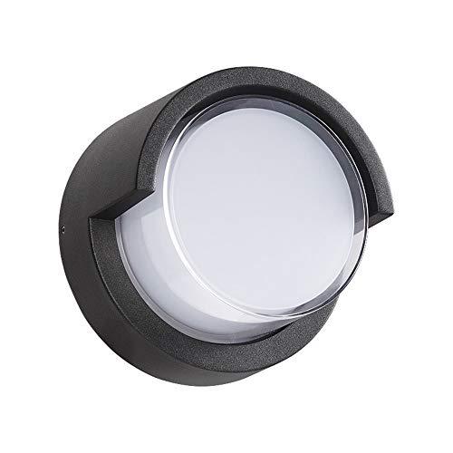 The only good quality Lámpara de pared para exteriores de color negro LED para patio, redondo, pasillo exterior, impermeable, balcón, terraza, moderna lámpara de pared, 17 x 17 cm