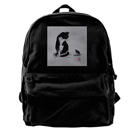 Yuanmeiju Zaino di Tela Cat And Little Mouse Japan Rucksack Gym Hiking Laptop Shoulder Bag Daypack for Men Women