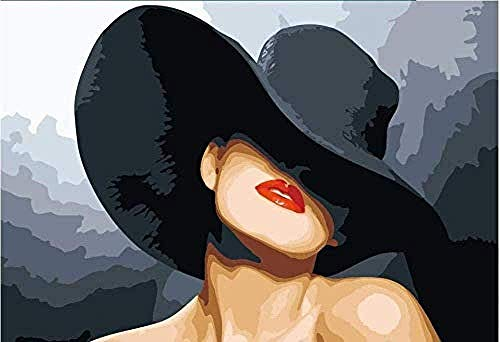 LSDEERE Malen nach Zahlen Erwachsene Kinder DIY Ölgemälde Frau mit Hut 40x50cm Digitale Leinen Leinwand Neujahr Geschenk Haus Dekor