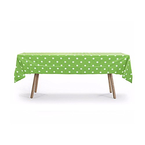 """5 Pack, 54"""" x 108"""" Lime Green Polka Dot Rectangular Plastic Table Cover, Party Table Cloths, Dining Table Cover, Plastic Table Cloth Reusable (PEVA) (Polka Dot Lime Green)"""