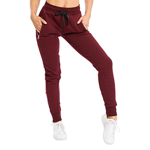 SMILODOX Damen Jogginghose 'Ripplez' | Trainingshose für Sport Fitness Gym Training | Sportleggings - Jogger Pants - Sweatpants Hosen - Freizeithose Lang, Größe:XS, Farbe:Bordeaux
