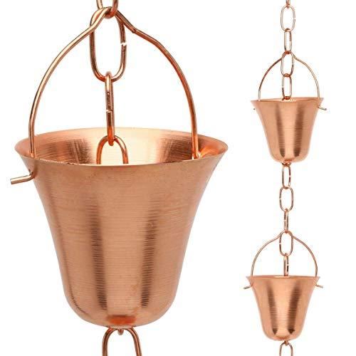 Golden Canary Regenkette, reines Kupfer, einbaufertig in Dachrinne, dekorativer Fallauslauf-Ersatz zum Sammeln von Wasser in einem Fass (2,4 m)