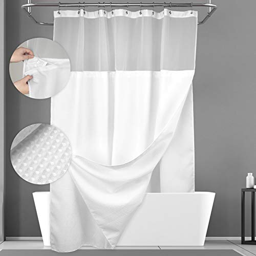 Waffle Weave Shower Curtain with Snap-in Fabric Liner Set, 12 Hooks Included - Hotel Style, Waterproof & Washable, Heavyweight Fabric & Mesh Top...