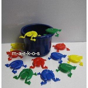 land-Haus-Shop Tolles Frosch Hüpf Spiel / lustiges Froschhüpfspiel / Geschicklichkeitsspiel für Jung und Alt / Frosch Hüpfspiel, 12 Frösche + Eimer (blau)