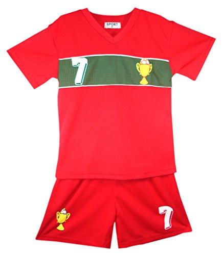 Niños – Conjunto de camiseta y pantalón corto de fútbol verano