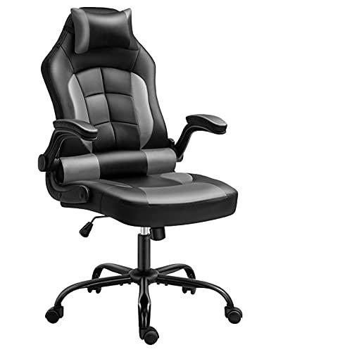 Silla de videojuegos, silla ergonómica para videojuegos, respaldo y asiento con altura ajustable, giratoria, color gris