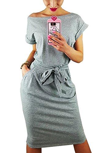 PRETTYGARDEN Women's 2018 Casual Short Sleeve Party Bodycon Sheath Belted Dress with Pockets (Grey, Medium)