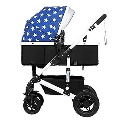 Guo@ Cochecito de bebé, plegable ligero Amortiguador Niños Push Baby Carriages Carro infantil Acero de alto carbono White-frame (Color : #1)