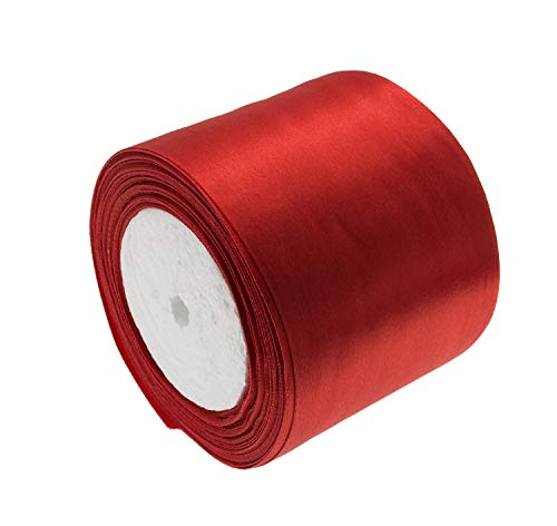 ATRibbons 25 Yards 3 Inches Wide Satin Ribbon Perfect for Wedding Satin Chair Sash and Gift Wrapping (Red)