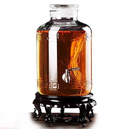 HyxqyJP Drankdispenser met lekkagevrij, harsstandaard, glazen deksel, rond, 5 l ~ 25 l, koud water, Sangria, Limonade Cold Brew Coffee