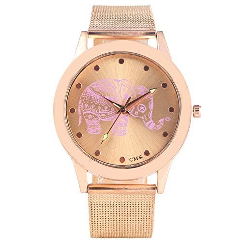 Elegante Reloj de Pulsera analógico de Cuarzo de Oro Rosa para Mujer, Correa de Malla de Acero Resistente para Mujer, diseño de Elefante único para Mujer