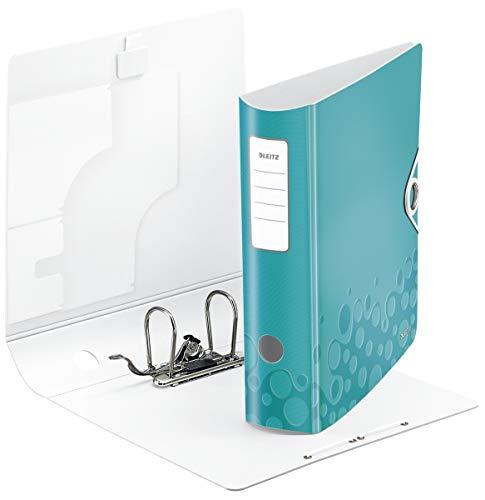 Leitz 11060051 Multifunktions-Ordner (A4, Runder Rücken (8, 2 cm Breite) Gummibandverschluss, Kunststoff, WOW) eisblau metallic