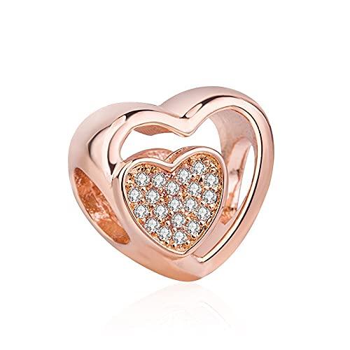WUXEGHK Encanto De Cuentas De Plata Esterlina 925 Genuino Calado De Oro Rosa Unido Corazón De Amor con Cuentas De Cristal Apto para Pulsera Pandoradora