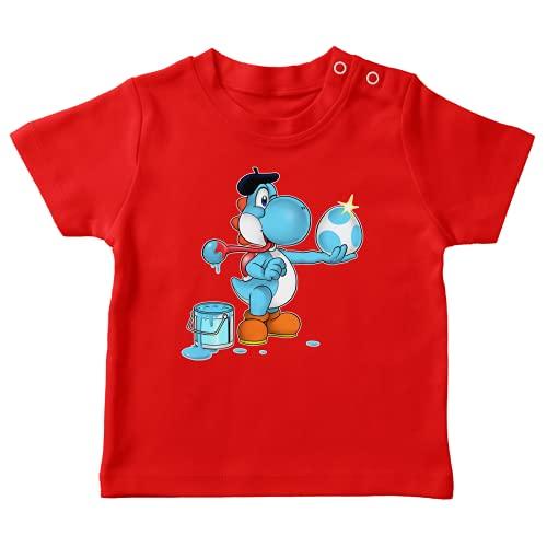 OKIWOKI Yoshi Lustiges Rot Baby T-Shirt - Hellblauer Yoshi (Yoshi Parodie signiert Hochwertiges T-shirt in Größe 6 monate - Ref : 551)