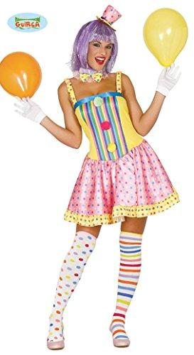 Guirca buntes Clown Kostüm für Damen Karneval Einhorn Fasching Party Geburtstag lustig , Größe:M