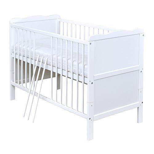 Baby Delux Babybett Kinderbett umbaubar Juniorbett Jack 140x70 Weiß