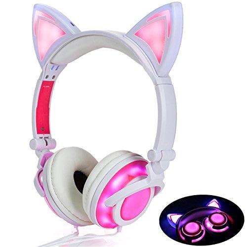 LIMSON Over-Ear-Headphones mit Katzenohr, Wiederaufladbare Faltbare Headset LED-Licht Leuchtenden Kopfhörer für Kinder (Rosa)