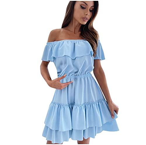 Lalaluka TailliertesKleid Damen Kleider kurzEinfarbig Korsett Flounce Strandkleid Ausgestelltem Rock Kurz Kleider