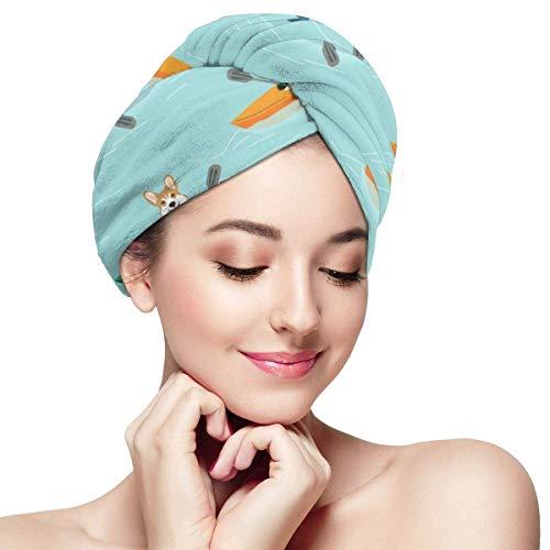 N/A Corgis In Kayaks Tela linda para perro al aire libre – Envolturas para cabeza de ducha de color azul para mujeres gorro de ducha anti encrespamiento absorbente de secado torcido toalla sombrero