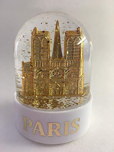 VIANAYA Boule de Neige Notre Dame de Paris - Taille Mini 6CM - Socle Blanc en Plastique de qualité - Paillettes dorées - Made in France