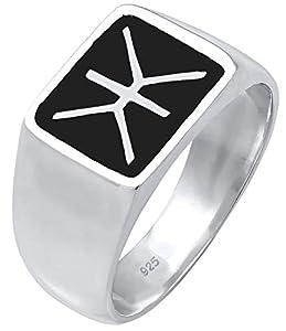 Kuzzoi Siegelring Herrenring, massiv 14 mm breit in 925 Sterling Silber, schwarz Emaille Logo, Ring für Männer in der Ringgröße 60 – 66, 0601860719 (66 (21.0))