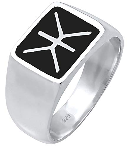 Kuzzoi Siegelring Herrenring, massiv 14 mm breit in 925 Sterling Silber, schwarz oxidiertes Logo mit Gravur, Ring für Männer in der Ringgröße 60 – 66, 0601860719_60