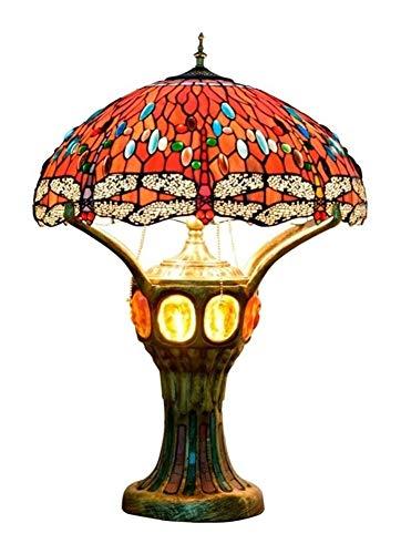 Roja de la libélula del estilo de Tiffany escritorio de la forma de la lámpara de cristal Pantalla Tabla iluminación del árbol Casa Grande turística luz decorativa for el frente interior del vestíbulo