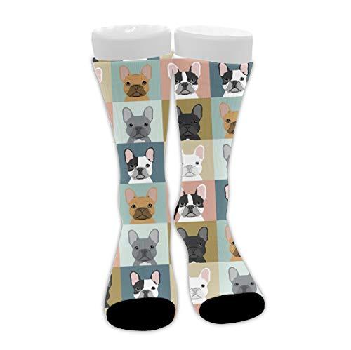 Boys & Girls Cushioned Crew Socks, Athletic Hiking Socks, Compression Sock for Training Skiing Football, Thermal Socks Quater Tube Socks (French Bulldog Dog Checkered sock)