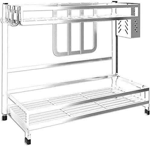 JJJJD Estantes escurridor de cocina escurridor lavavajillas utensilios de cocina Estante de 2 capas de acero inoxidable estante 304 (Size : B)