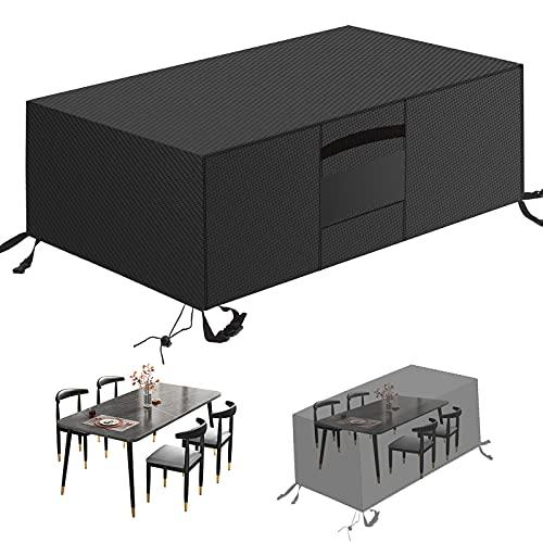 MEEYI Housses de Meubles 205x104x71cm, Extérieure Protection Meubles de Jardin avec Grilles D aération 420D Tissu Oxford Imperméable Coupe-Vent Anti-UV pour Chaise De Table Canapé, Noir