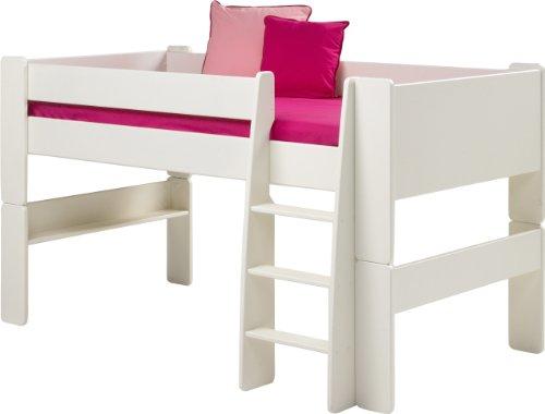 Steens For Kids Kinderbett, Hochbett, inkl. Lattenrost und Absturzsicherung, Liegefläche 90 x 200 cm, MDF, weiß