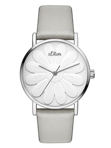 s.Oliver Damen Analog Quarz Uhr mit Leder Armband SO-3471-LQ