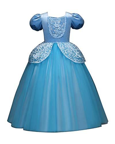 Eleasica Vestido de Disfraz Niña Cenicienta Vestido de Ceremonia Niños Cumpleaños Regalo Cinderella Vestido de Cosplay Navidad Halloween Carnaval Fiesta Parte Tutú 3-8 Años