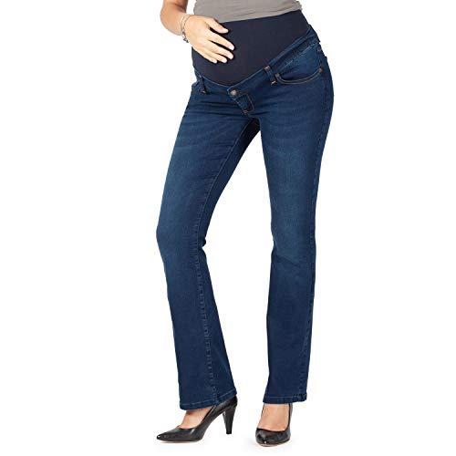 MAMAJEANS Jeans Premaman Svasato, Super Elastico a Zampa di Elegante (46, Deluxe Scuro)