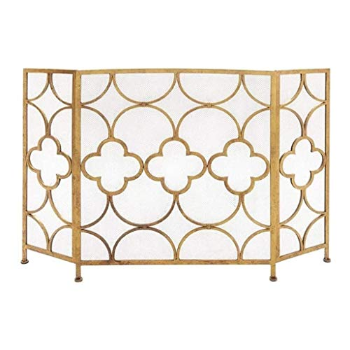 Why Choose WJMLS Single Panle Fireplace Screen Spark Guard Cover Gold Fireplace Screen Baby Safe Fir...