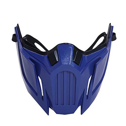 DealTrade Sub Zero Maske Cosplay MK 11 Kostüm Königs Blau Harz halbes Gesicht Helm Kostüm Halloween Karneval Zubehör für Herren Erwachsene