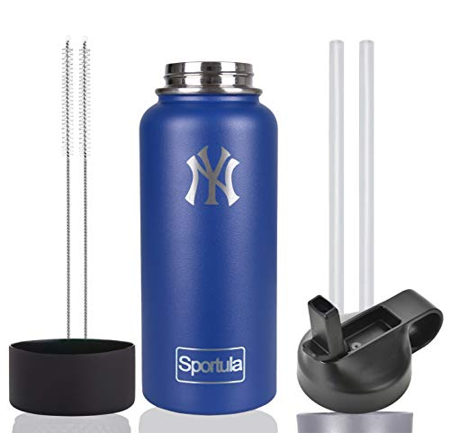 Stainless Steel Water Bottle, Wide Mouth with Straw Lid and Silicon Boot, Double Wall Vacuum Insulated Sweat Proof Sport Thermos (Cobalt New York Yankees, 40 oz)