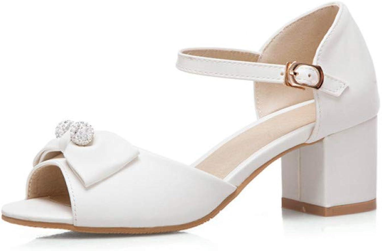 MEIZOKEN Womens Peep Toe High Chunky Heel Sandal Sweet Bowtie Pearl Ankle Strap Pump Sandals