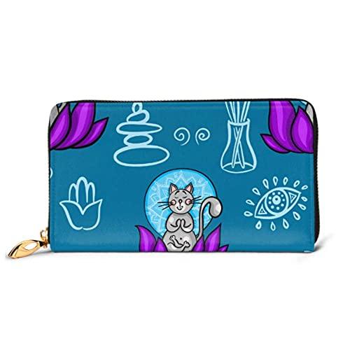 Ahdyr Fashion Handbag Zipper Wallet Patrón Divertido Gato de Dibujos Animados Haciendo teléfono Embrague Monedero Embrague de Noche Bloqueo Cartera de Cuero Mu