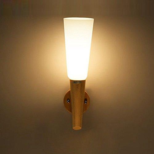 Base en bois verre lampe torche couloir appliques murales Salon couloir Applique murale Chambre à coucher d'escalier Coque éclairage mural Fixations