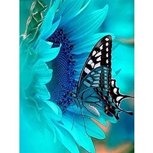DIY Kit de pintura diamante 5D, Mariposa azul Diamond Painting completo dot bordado punto de cruz cristal Rhinestone lienzo a mano Artesanía decor de paredes del hogar Round Drill,50x70cm