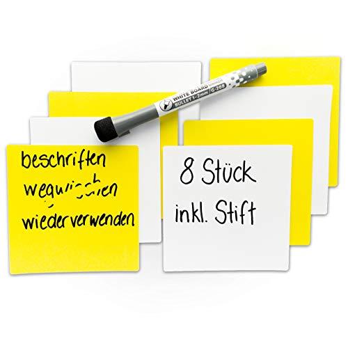 chiliblue Sticky Notes – wiederbeschreibbare, selbstklebende Haftnotizen – wiederverwendbare Notizzettel aus Kunststoff inklusive Marker-Stift